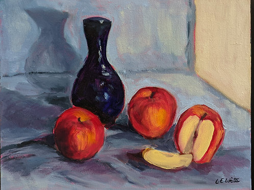 BlueVase With Apples by Lucinda White