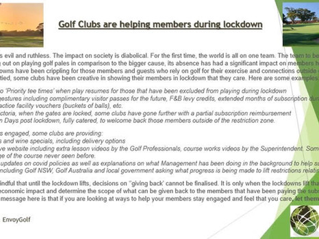 Golf Clubs are helping members during lockdown