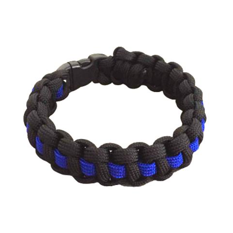 Bracelet paracord Cobra avec ligne - Bleu