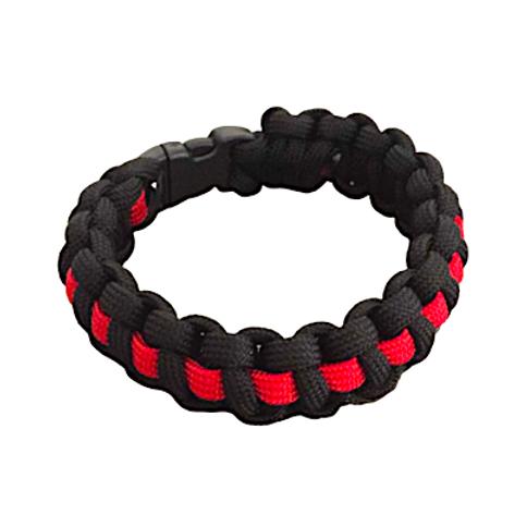 Bracelet paracord Cobra avec ligne - Rouge