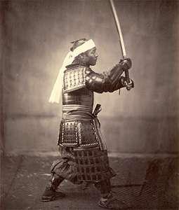 A Samurai soldier wields a sword