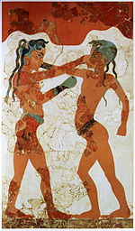 An ancient painting depicts two men boxing