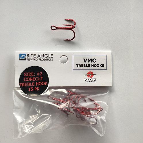 Treble Hooks Cone Cut - Red- #4- 15PK - #30010