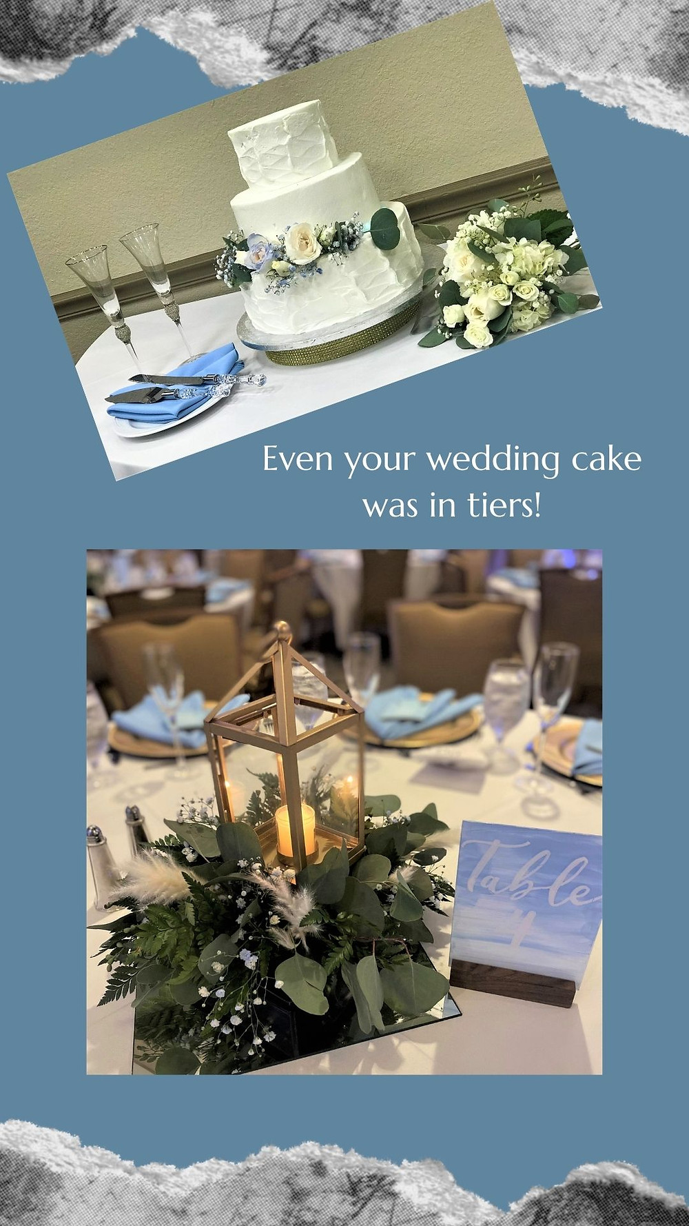 Wedding Cake-Blue and Gold Centerpieces