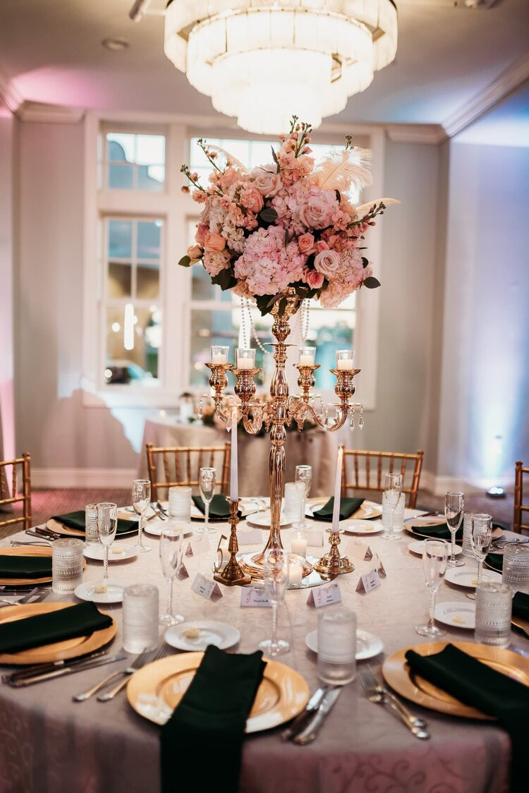 Gold and Blush Wedding Centerpieces