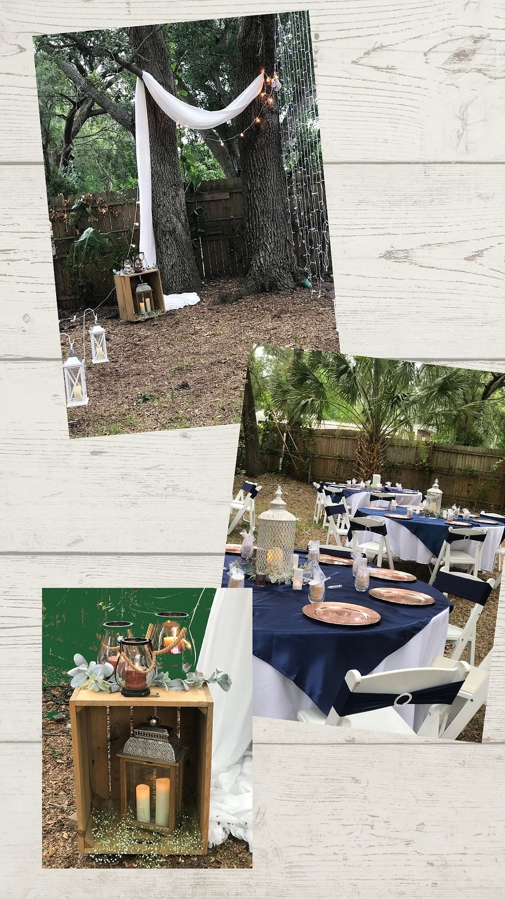 Blue, White & Rose Gold Rustic Backyard Ceremony