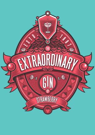 Gin label vector art