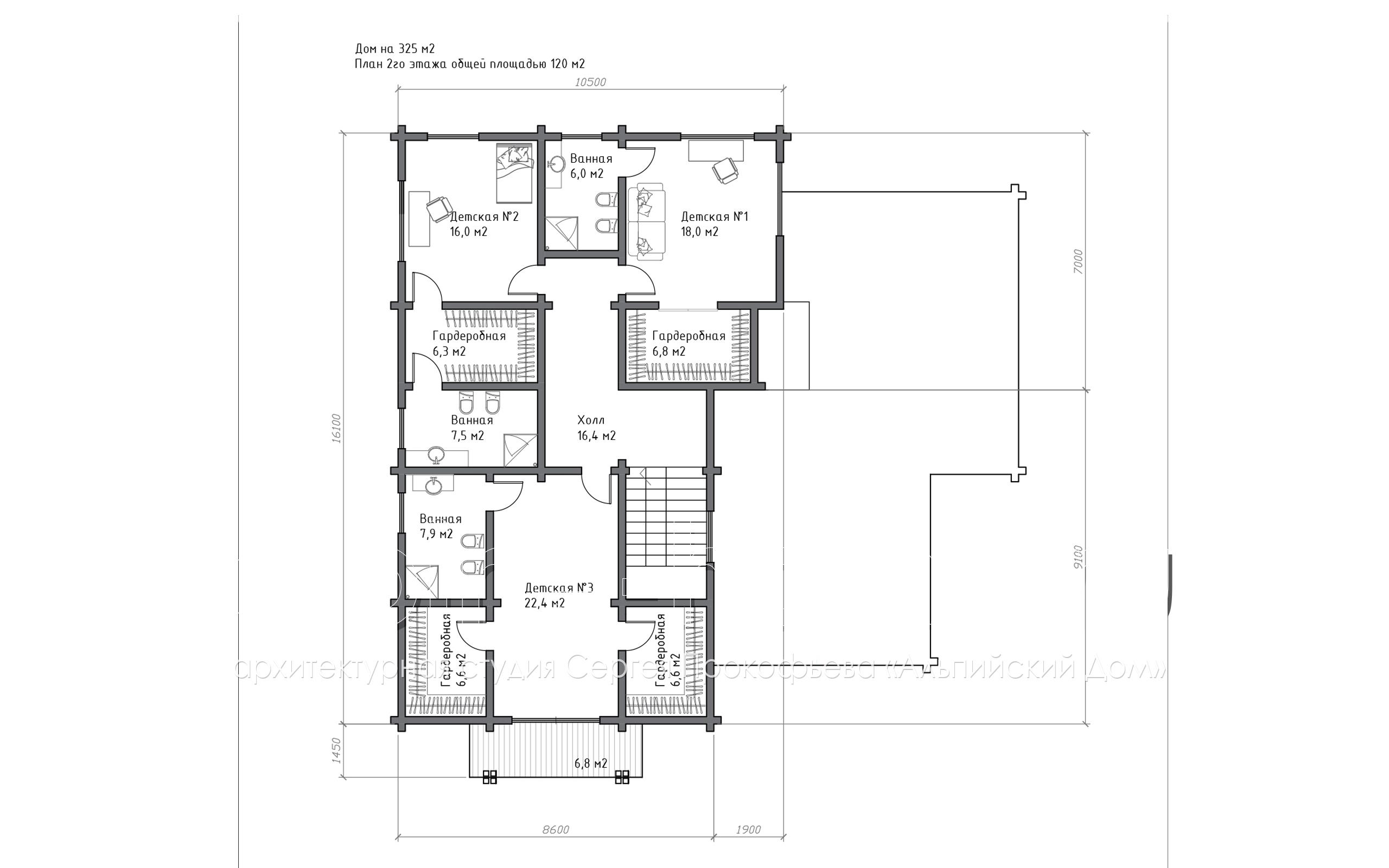 коттедж НАЙРАТ план 2-го этажа