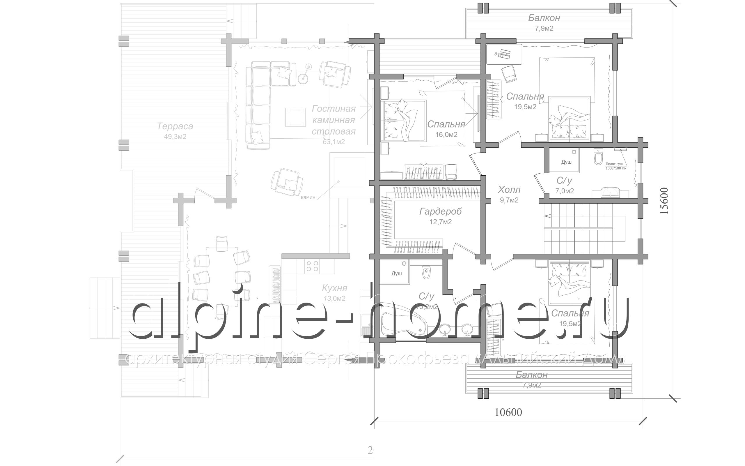 коттедж BREGO план 1-го этажа