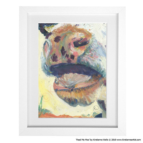 Feed Me Moo - Cow Study (Art Print) by Kirstianne Wells