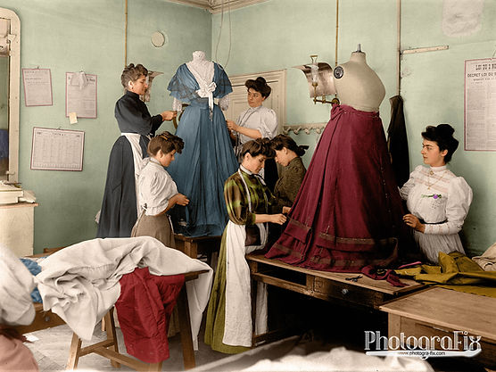 Le Drapage du Corsage at the House of Worth, Paris, 1907, Colourised by Tom Marshall at PhotograFix, professional photo colouriser and restorer.