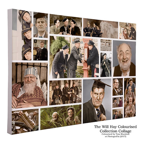 Will Hay Colourised Collage Canvas