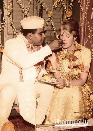Indian Wedding, 1963 Colourised by Tom Marshall at PhotograFix, professional photo colouriser and restorer.