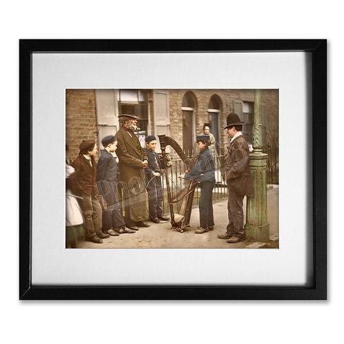 Italian Harpist Street Musicians (Victorian London 1877)