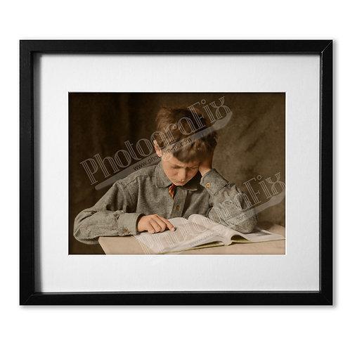 Lewis Hine - Boy Studying, 1924