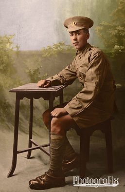 Frank Sheard, WW1 Lost Soldier, Missing, Died 1917, Colourised by Tom Marshall at PhotograFix, professional photo colouriser and restorer.