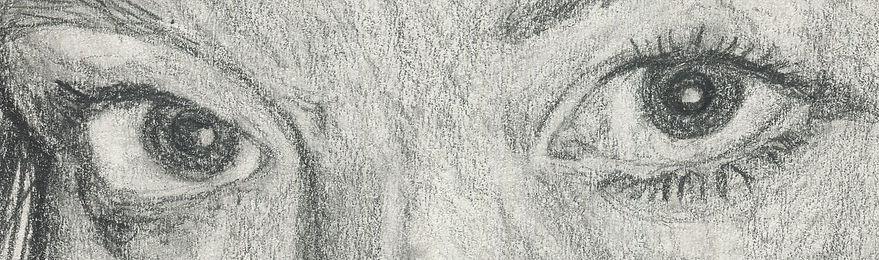 Kirstianne Wells self Portrait, woman's eyes in pencil illustration.