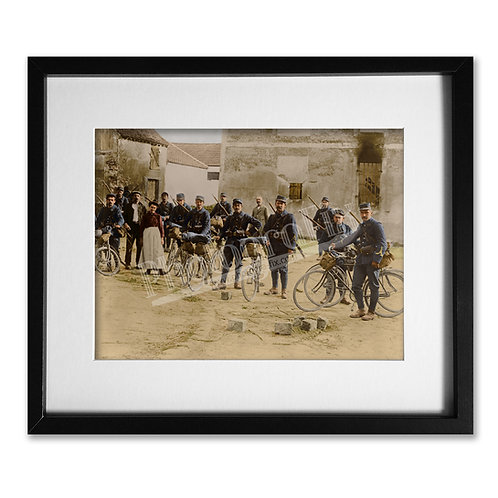 French Cyclists of WW1- Colourised Print