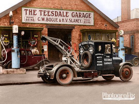 Teesdale Garage in Nottingham, England, Motor Recovery Truck, Colourised by Tom Marshall at PhotograFix, professional photo colouriser and restorer.