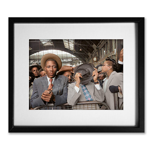 West Indians at Victoria Station (Windrush) 1956 - Colourised Print