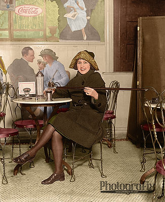 1920s Flapper, Prohibition Woman With Alcohol in Cane, Colourised by Tom Marshall at PhotograFix, professional photo colouriser and restorer.