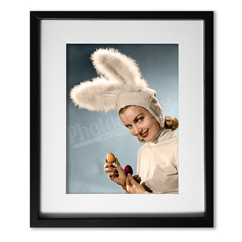 Lynn Merrick as the Easter Bunny - Colourised Print