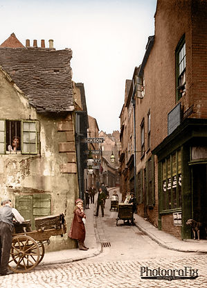 Drury Hill, Nottingham, Nottinghamshire, 1906, Colourised by Tom Marshall at PhotograFix, professional photo colouriser and restorer.