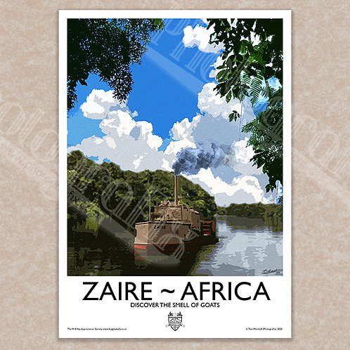 Zaire Boat (Old Bones of the River) - Vintage Style - Poster / Magnet /Postcard