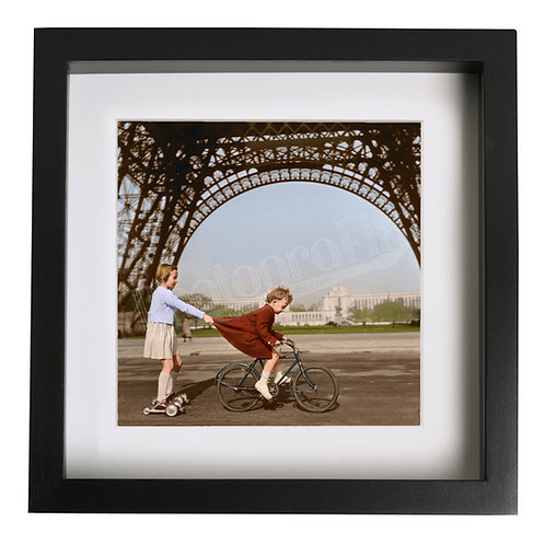 Children Play in Paris by Eiffel Tower, 1950 - Colourised Print
