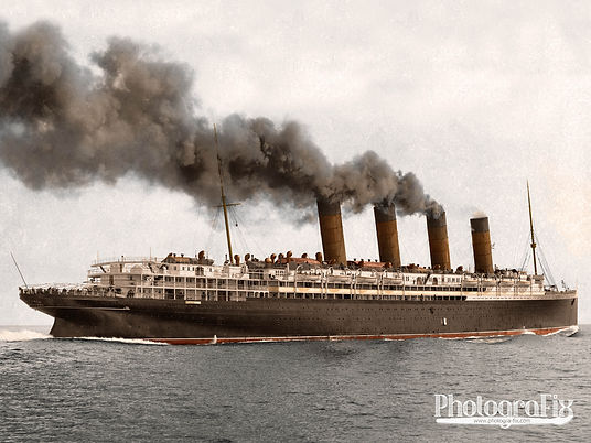 Ss Lusitania, 1915, Ship Colourised by Tom Marshall at PhotograFix, professional photo colouriser and restorer.