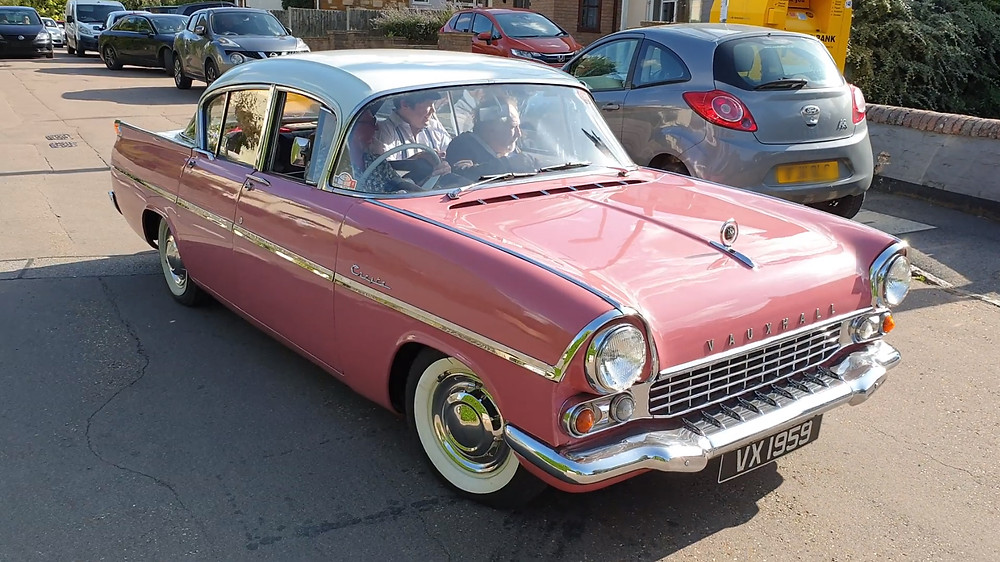 Graham Moffatt's children arrive in a Vauxhall Cresta, similar to that owned by Jim Dale.