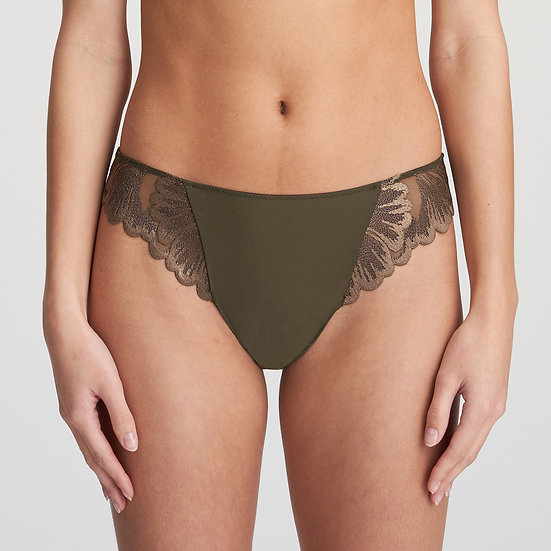 Phoebe Thong In Olive Green By Marie Jo