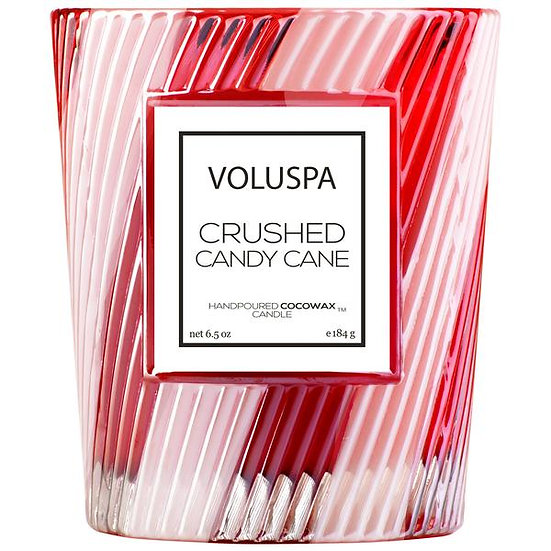 Voluspa - Crushed Candy Cane Boxed Textured Glass Candle