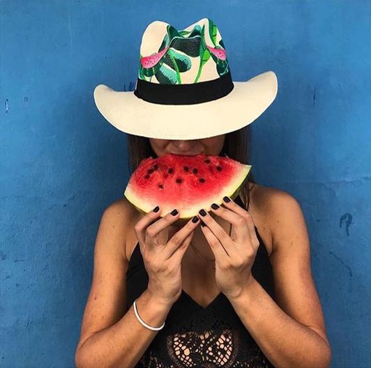 Watermelon Hand Painted Panama hat