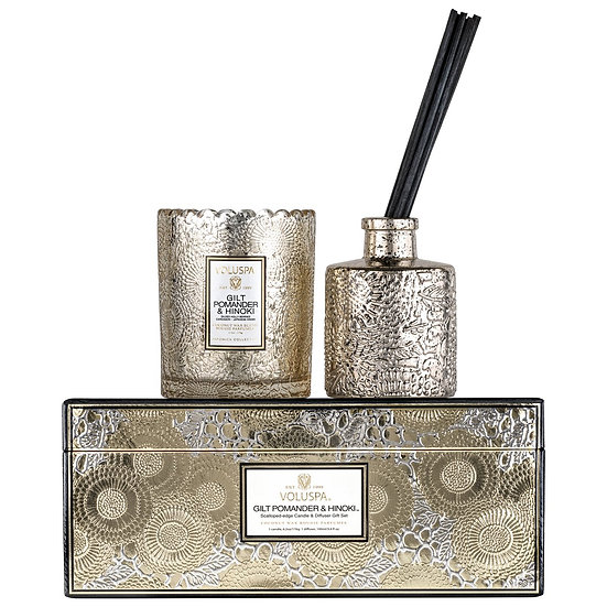 Voluspa Gilt Pomander & Hinoki Candle & Diffuser Set