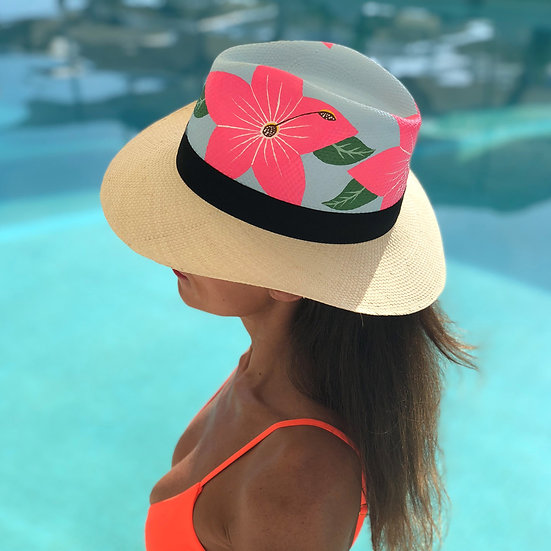 Tropical Hand Painted Panama hat