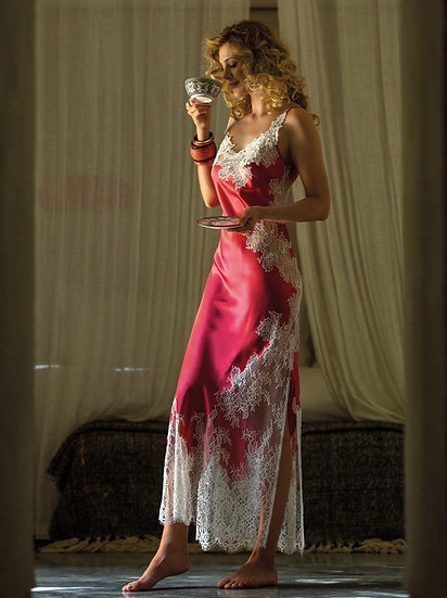 Jasmin Silk Long Nightdress/Slip by Marjolaine in Pivoine (Peony)
