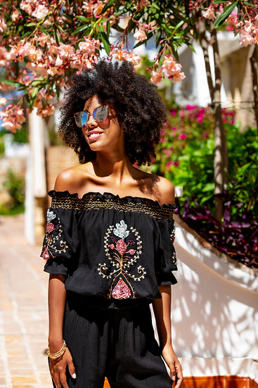 Marseilles Bardot Top In Black Gold and Berry by Lindsey Brown