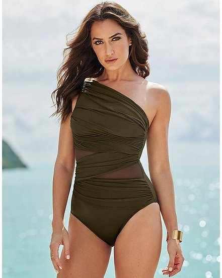 Miraclesuit One Shoulder Jena Network Miraclesuit in Olive Green