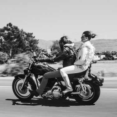 Biker and Chick on Hwy101