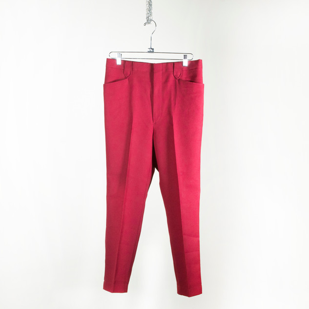 Red Slim Cropped Trousers