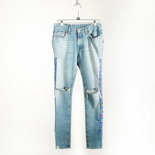 Bandana Side Distressed Jeans