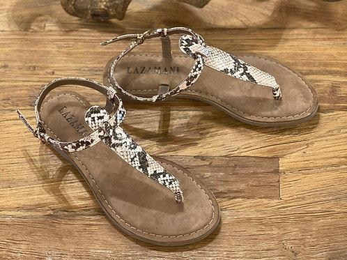 Sandalen mit Zehensteg in Schlangenoptik