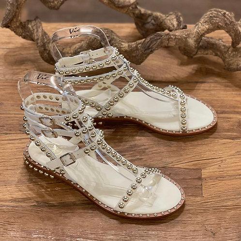 Sandaletten Off-White mit Nieten