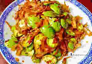 Home-cooked sambal petai with ikan bilis