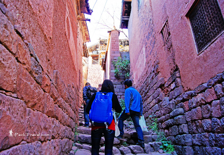 Walking up Nuodeng Village