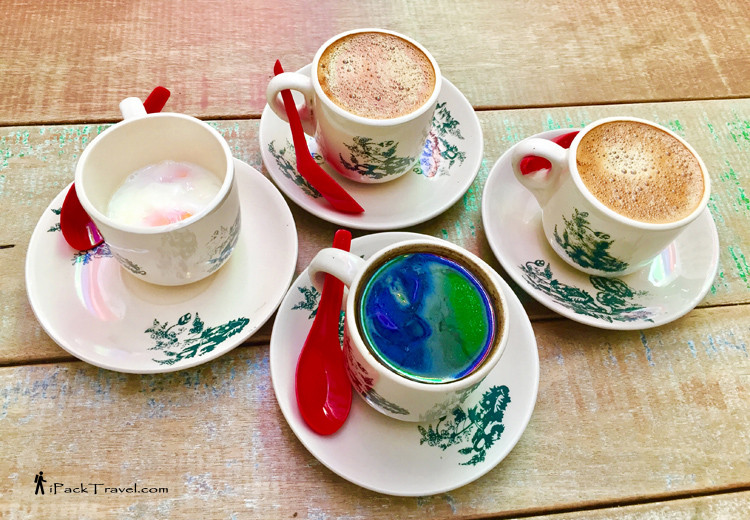 White coffees, boiled eggs, butter coffee