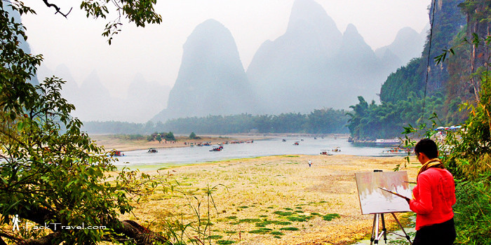 Rafting down Li River in Guilin