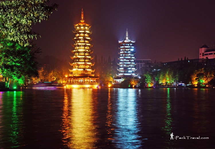 Sun & Moon Pagodas in Guilin city