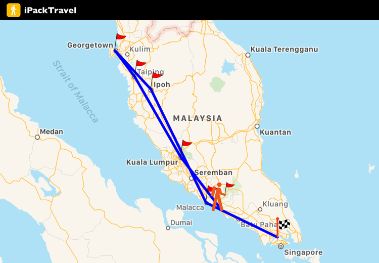 West Malaysia Travel route